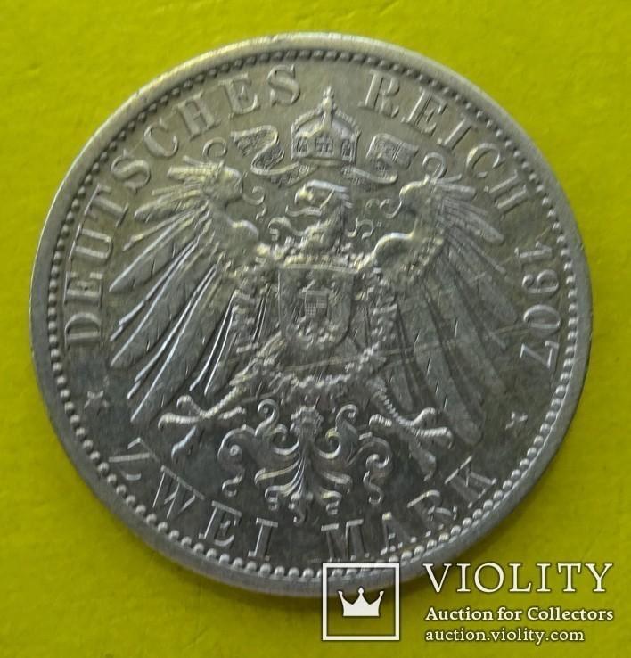 2 марки, Пруссия, 1907 год., фото №4