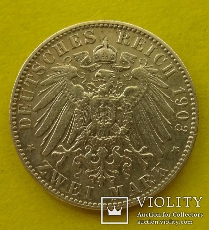 2 марки, Саксония, 1903 год., фото №4