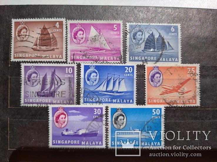 Марки Английские колонии Сингапур 50 - е, фото №2