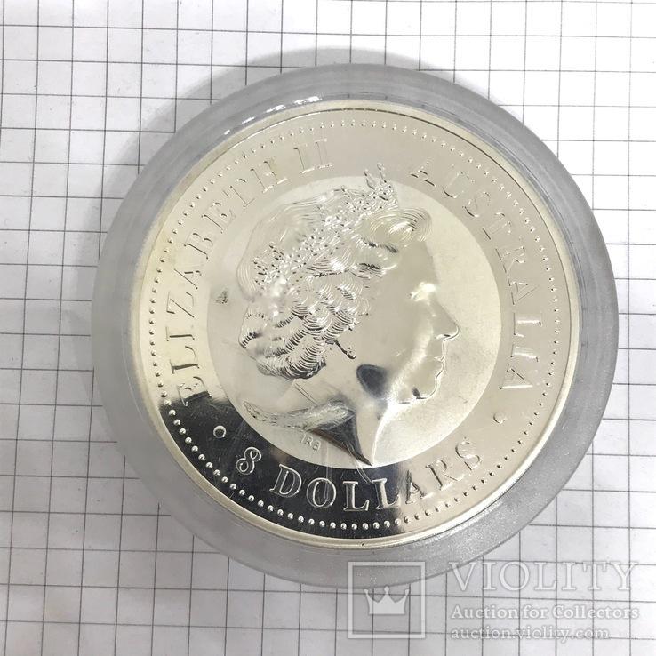 Инвестиционная монета серебро 999 Elizabeth II Australia 8 Dollars 5 oz Silver Coin, фото №4