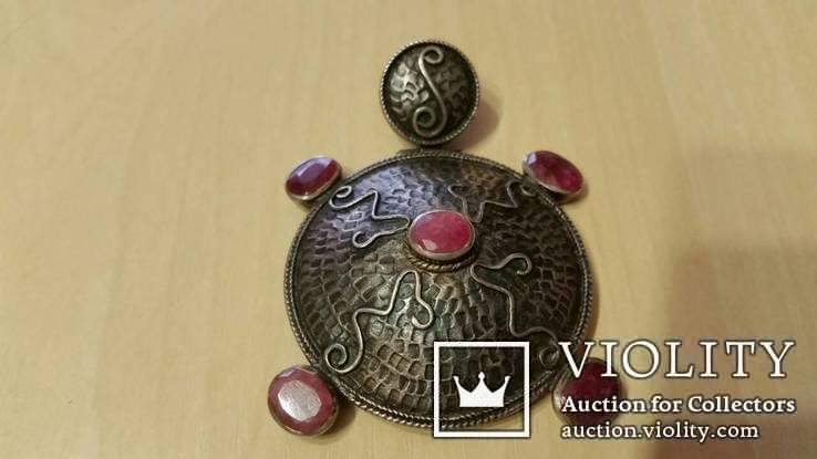 Серебряный кулон на цепочке с натуральными камнями, фото №3