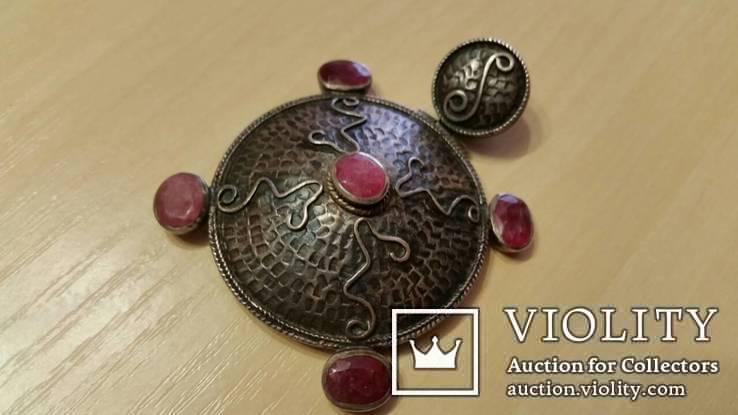 Серебряный кулон на цепочке с натуральными камнями, фото №9
