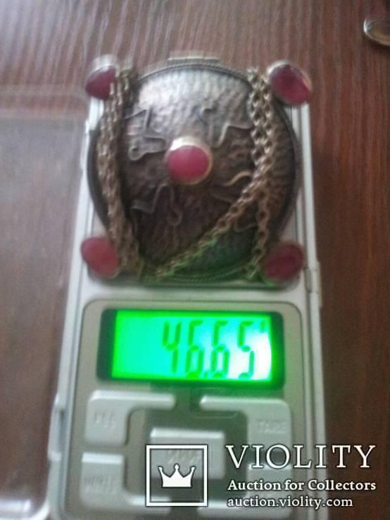 Серебряный кулон на цепочке с натуральными камнями, фото №10