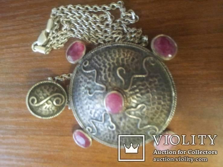 Серебряный кулон на цепочке с натуральными камнями, фото №13