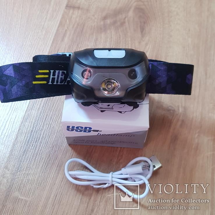 Налобний фонарик з датчиком руху на акомуляторі, фото №7