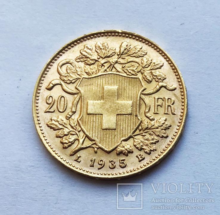 20 франков 1935 года. Швейцария. UNC.