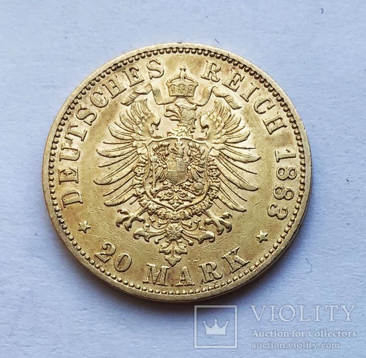 20 марок 1883 года. Пруссия., фото №2
