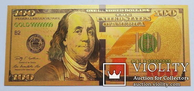 Золотая банкнота 100 долларов США. Сувенирная, фото №2