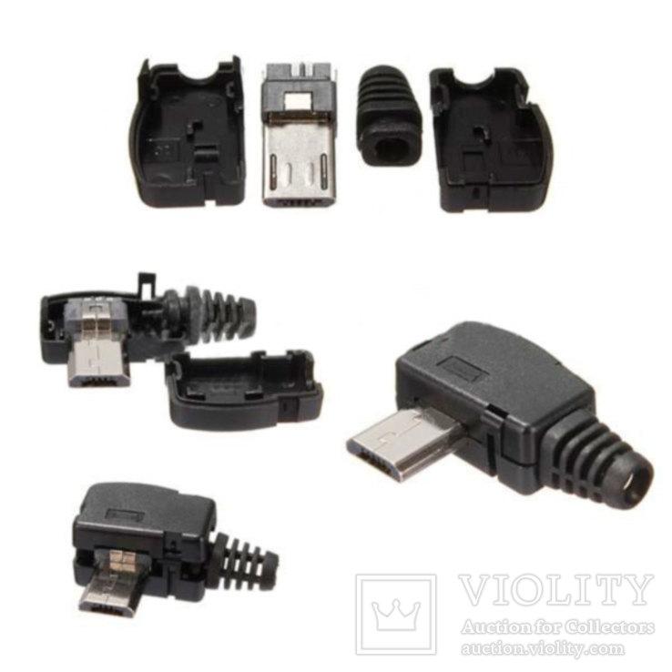 Штекер micro USB 5pin угловой с корпусом и кабельным вводом