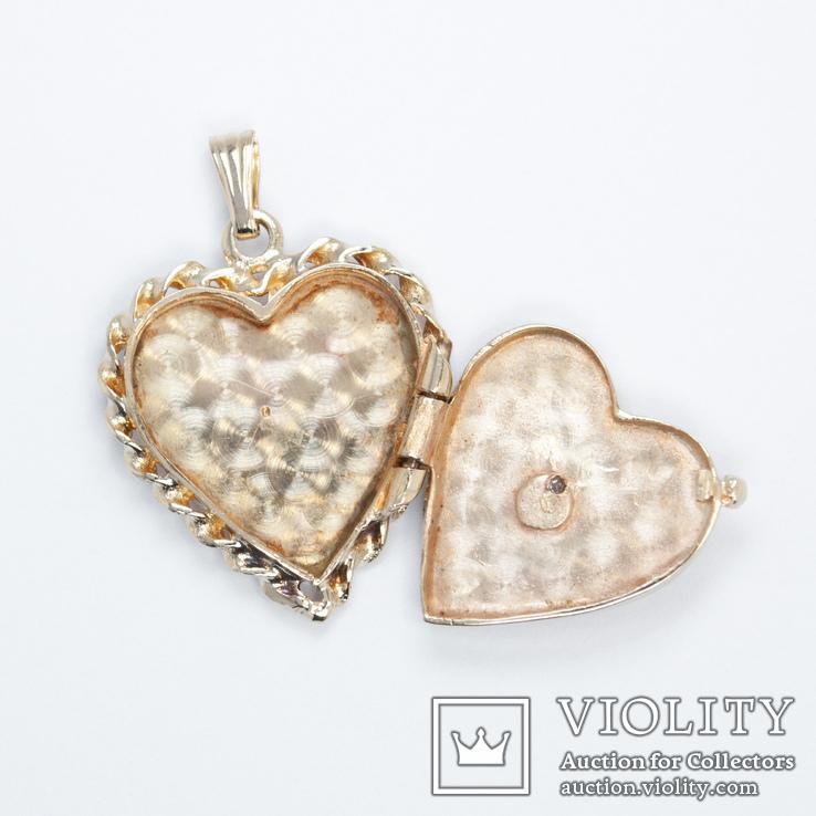 Золотой кулон-локет в форме сердца с бриллиантом, фото №4