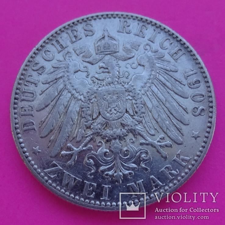 2 марки, 1908 год, Саксония., фото №5