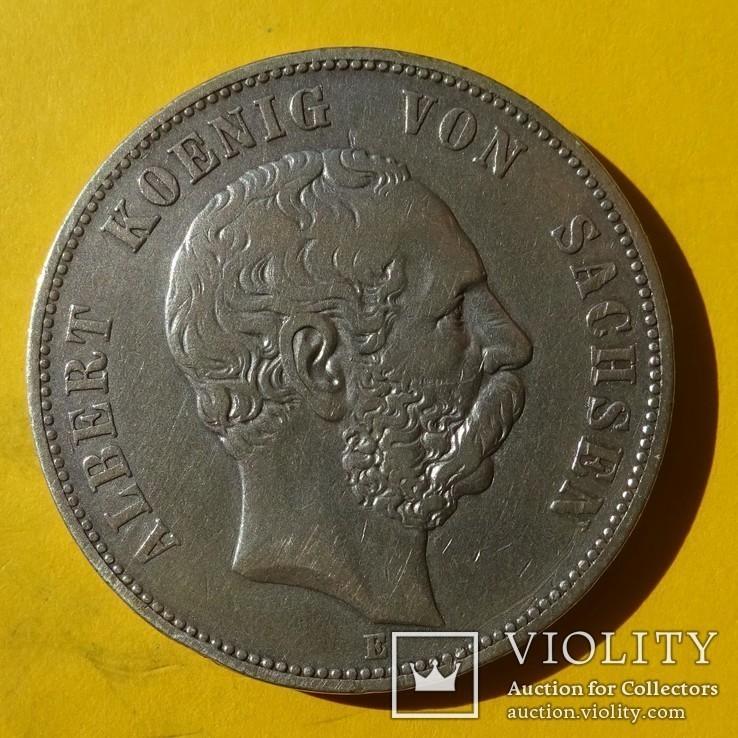 5 марок, 1876 год, Саксония., фото №3