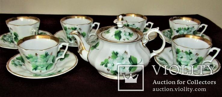 Антикварный сервиз чашки блюдца чайник клеймо TPM C.Tielsch Германия 1845-1850 г.г., фото №3