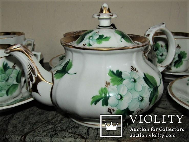Антикварный сервиз чашки блюдца чайник клеймо TPM C.Tielsch Германия 1845-1850 г.г., фото №6