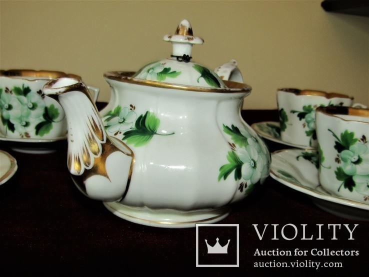 Антикварный сервиз чашки блюдца чайник клеймо TPM C.Tielsch Германия 1845-1850 г.г., фото №7