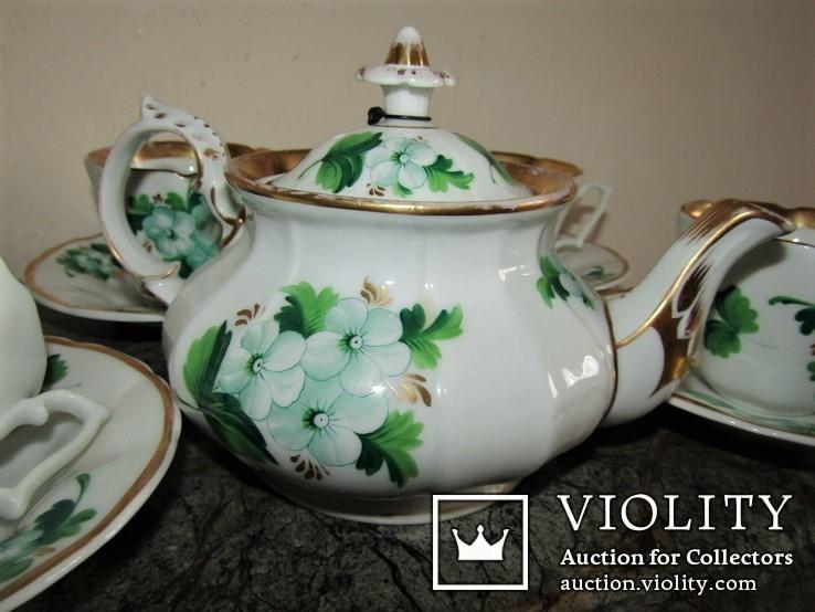 Антикварный сервиз чашки блюдца чайник клеймо TPM C.Tielsch Германия 1845-1850 г.г., фото №8