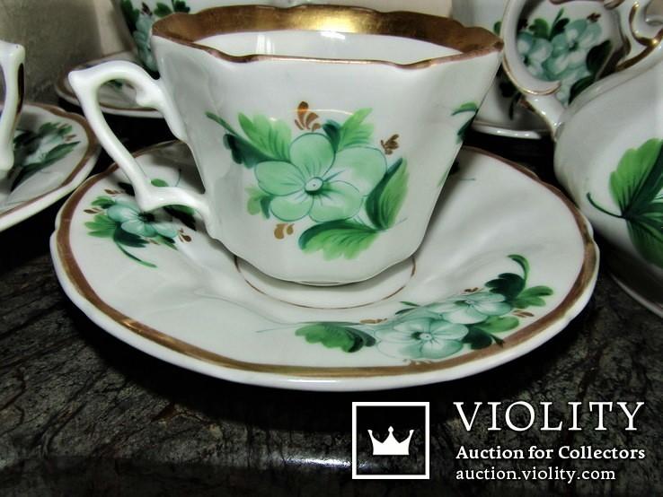 Антикварный сервиз чашки блюдца чайник клеймо TPM C.Tielsch Германия 1845-1850 г.г., фото №11