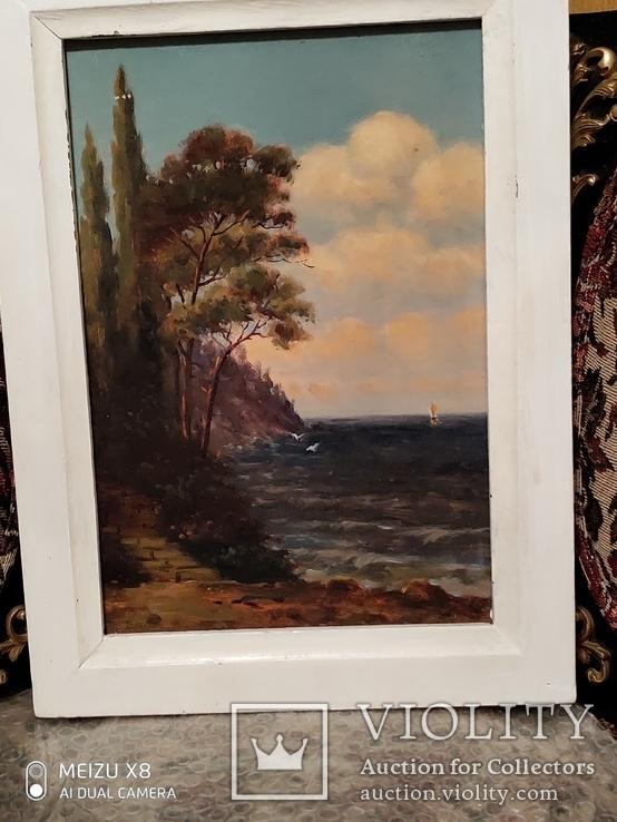 Картина в раме морской пейзаж,картон масло худКалашников