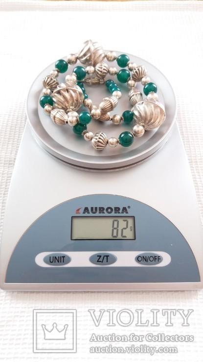 Ожерелье из серебра и зеленый агат. Италия, фото №4