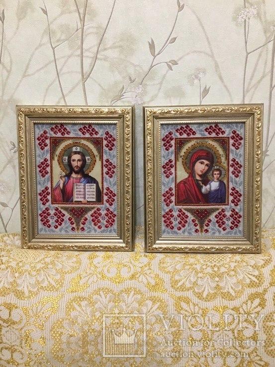 Иконы Казанская + Господь Вседержитель (Венчальная пара,чешский бисер), фото №2