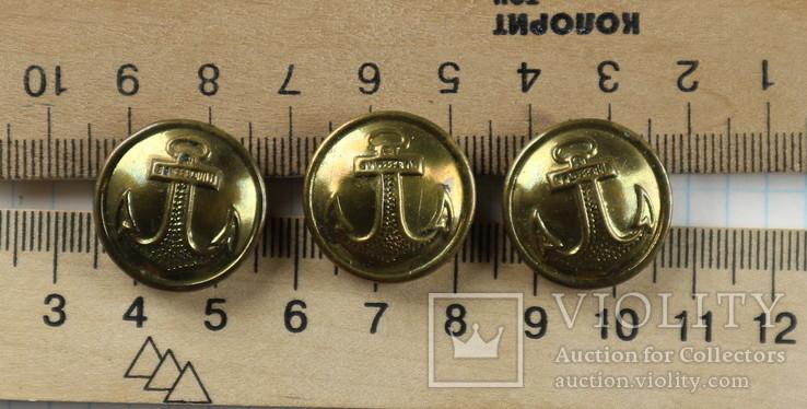 Пуговицы с якорями / 3 штуки /, тяж. металл., фото №2