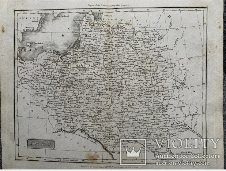 1809 Оригинальная карта Польша. Poland. Европа. Украина