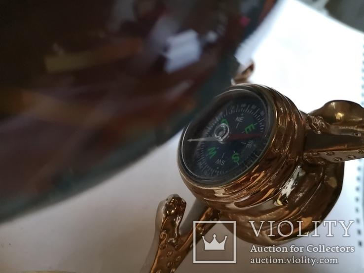 Большой кабинетный настольный глобус из полудрагоценных камней с компасом, фото №8