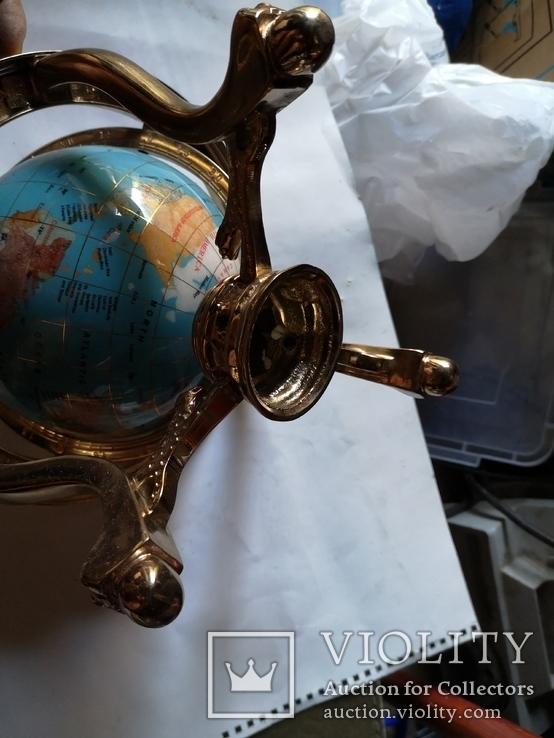 Большой кабинетный настольный глобус из полудрагоценных камней с компасом, фото №10