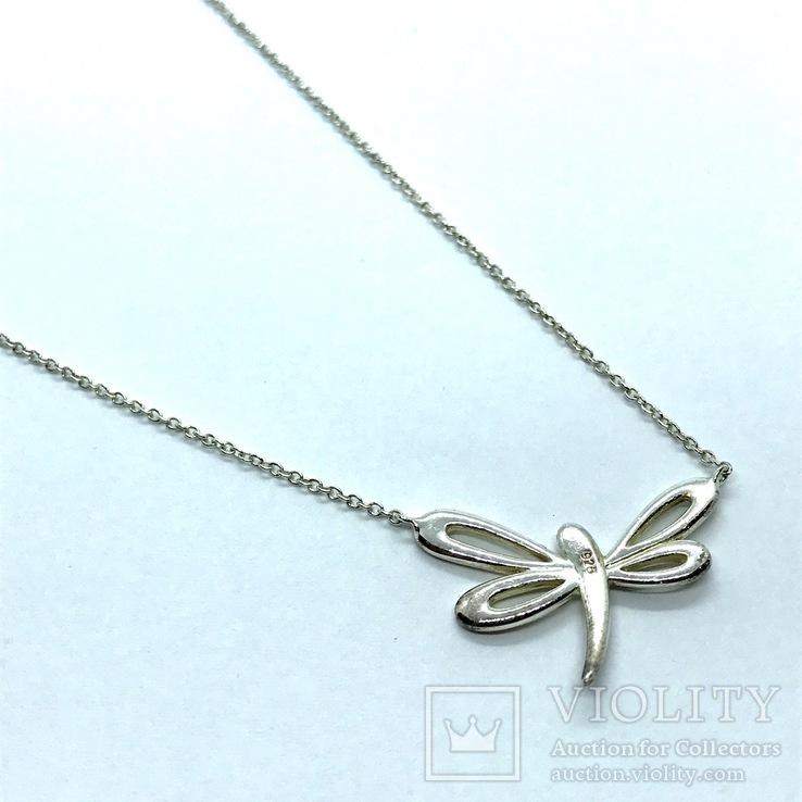 Подвеска стрекоза серебро на цепочке, фото №3
