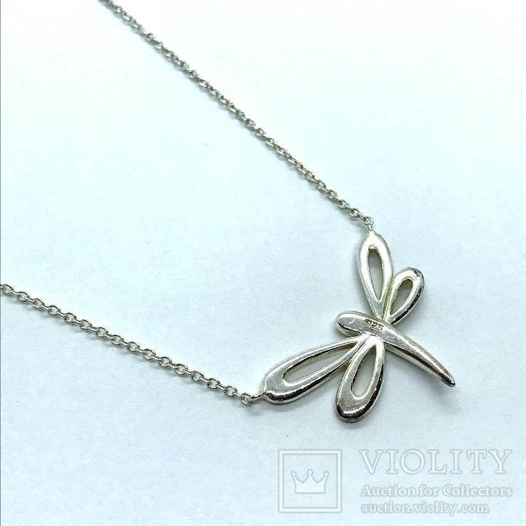 Подвеска стрекоза серебро на цепочке, фото №4
