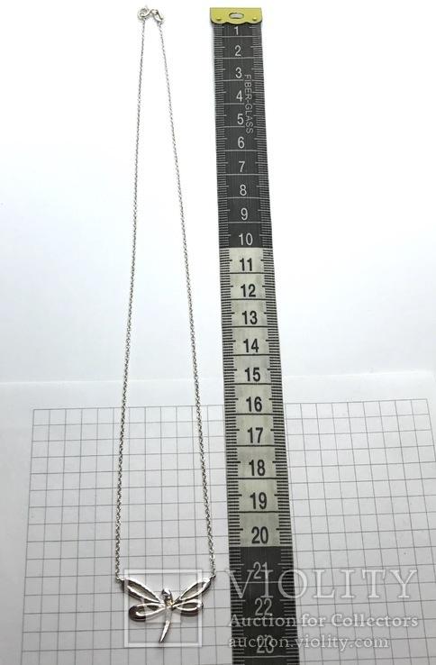 Подвеска стрекоза серебро на цепочке, фото №5