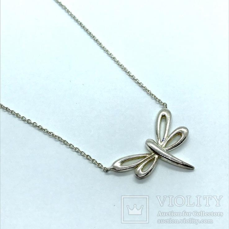 Подвеска стрекоза серебро на цепочке, фото №2