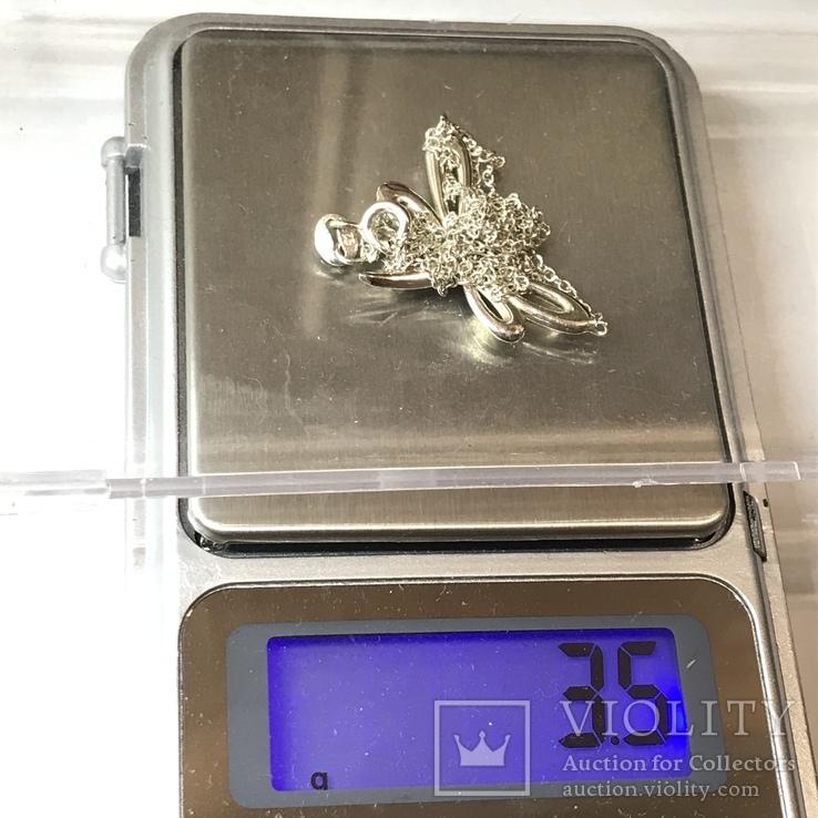 Подвеска стрекоза серебро на цепочке, фото №10