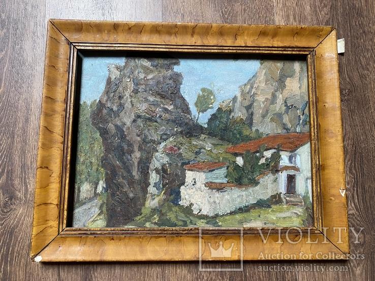 Картина Крым домик старинная 34х47 см