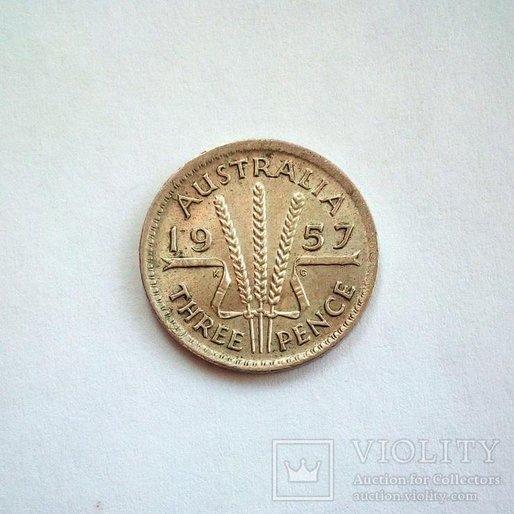 Австралия 3 пенса 1957 г., фото №2