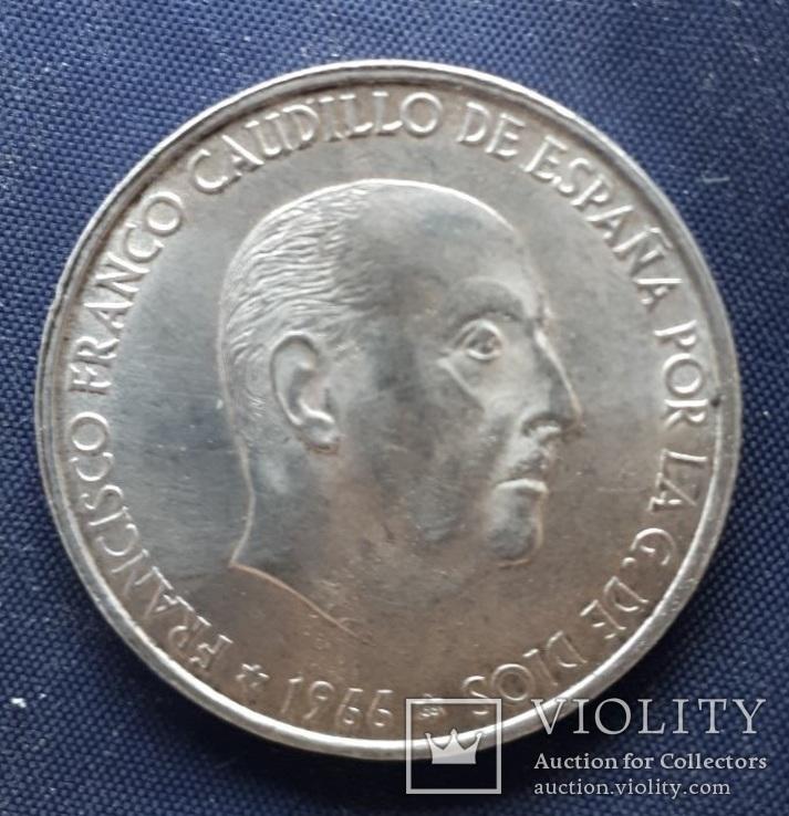 100 песет Испания Франко 1966г. серебро 19гр., фото №2