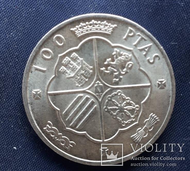 100 песет Испания Франко 1966г. серебро 19гр., фото №3