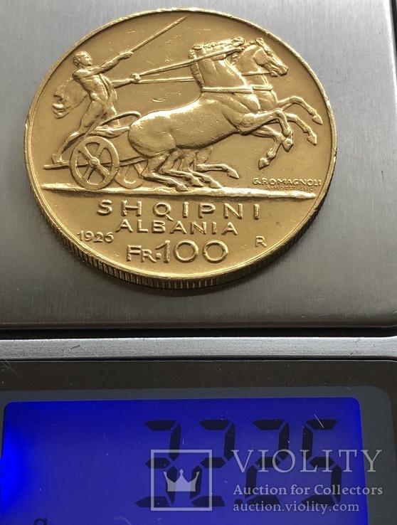 100 франга 1925 год Албания золото 32,25 грамма 900'