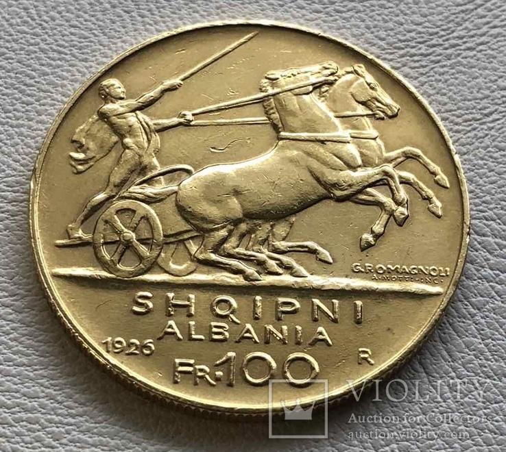 100 франга 1925 год Албания золото 32,25 грамма 900', фото №4