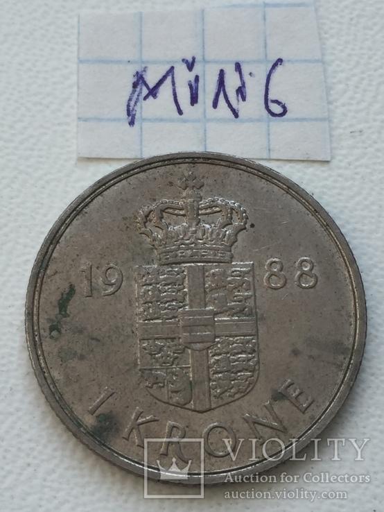 Дания 1 крона, 1988, фото №2