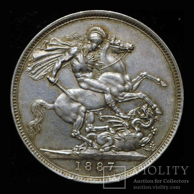 Великобритания крона 1887 aUnc серебро