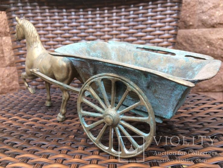 «Лошадь с повозкой» /бронза/., фото №3