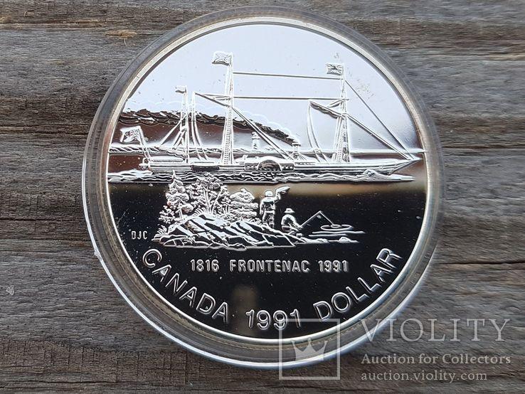 Канада 1 доллар 1991 г. Серебро. Фронтенак. Корабль., фото №2
