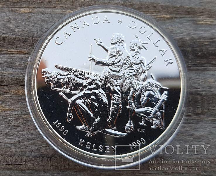 Канада 1 доллар 1990 г. Серебро. 300-летие экспедиции Генри Келси по Северной Америке., фото №2