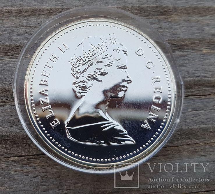 Канада 1 доллар 1981г. Серебро. Трансконтинентальная железная дорога. Паровоз., фото №3