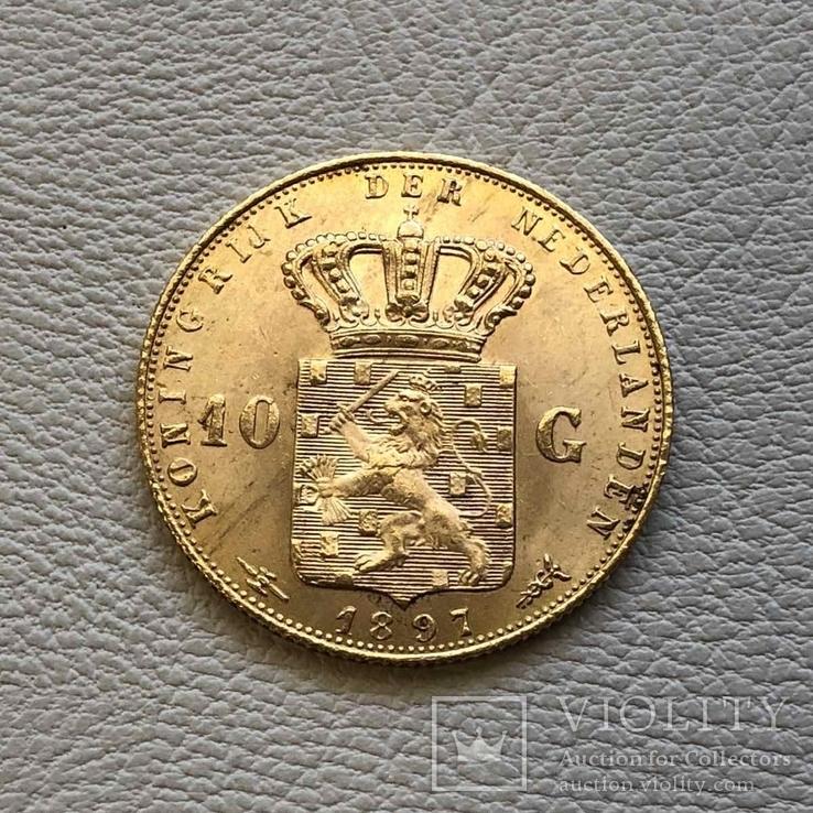 Нидерланды 10 гульденов 1897 года  6,72 грамма золота 900`, фото №3