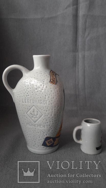 L Eberhardt Munchen, бутылка из  под ликера + стаканчик, фото №8