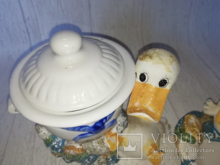 Разное кухонное. Сахарница гуси, молочник, масленка., фото №3