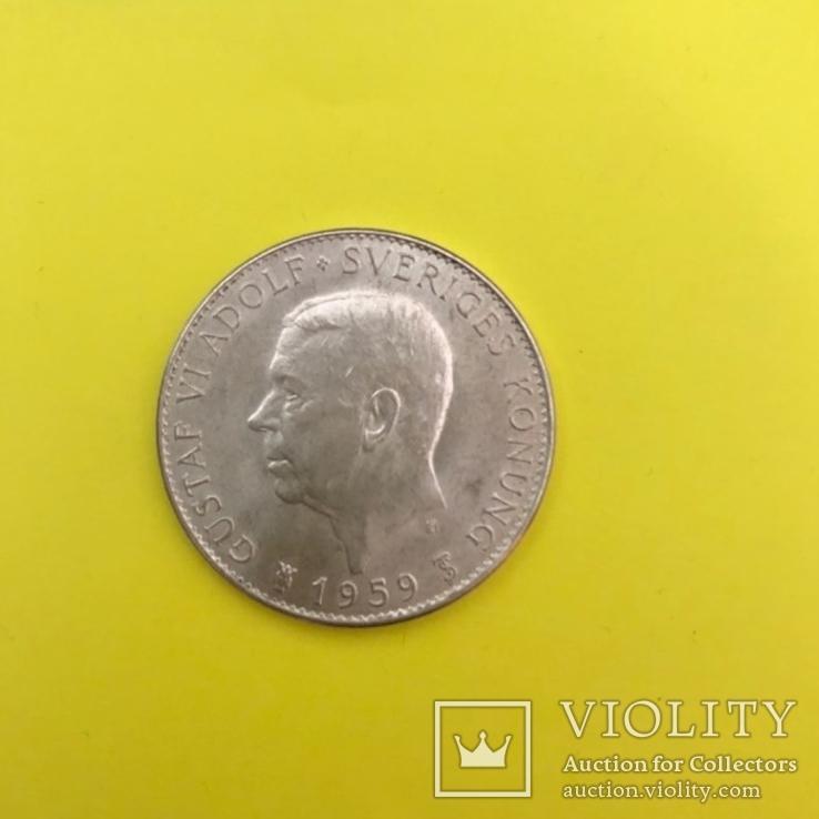 Швеція 5 крон, 1959 150-річчя Конституції Срібло., фото №2
