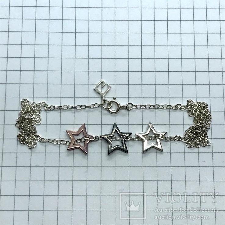 Подвесы звёзды серебро на цепочке, фото №3